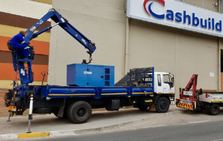 business generator installation - removing the generator from the truck
